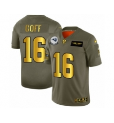 Men's Los Angeles Rams #16 Jared Goff Limited Olive Gold 2019 Salute to Service Football Jersey