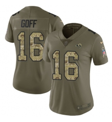Women's Nike Los Angeles Rams #16 Jared Goff Limited Olive/Camo 2017 Salute to Service NFL Jersey