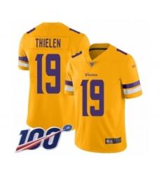 Men's Minnesota Vikings #19 Adam Thielen Limited Gold Inverted Legend 100th Season Football Jersey