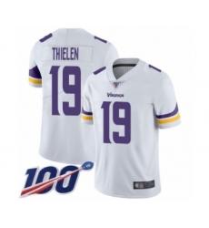 Men's Minnesota Vikings #19 Adam Thielen White Vapor Untouchable Limited Player 100th Season Football Jersey
