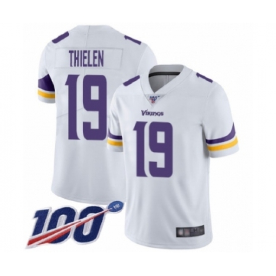 Men's Minnesota Vikings #19 Adam Thielen White Vapor Untouchable Limited Player 100th Season Football Jersey