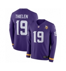 Men's Nike Minnesota Vikings #19 Adam Thielen Limited Purple Therma Long Sleeve NFL Jersey