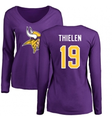 NFL Women's Nike Minnesota Vikings #19 Adam Thielen Purple Name & Number Logo Slim Fit Long Sleeve T-Shirt