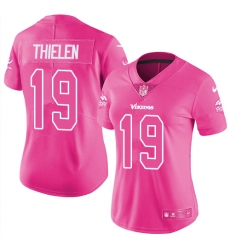 Women's Nike Minnesota Vikings #19 Adam Thielen Limited Pink Rush Fashion NFL Jersey