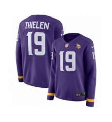 Women's Nike Minnesota Vikings #19 Adam Thielen Limited Purple Therma Long Sleeve NFL Jersey