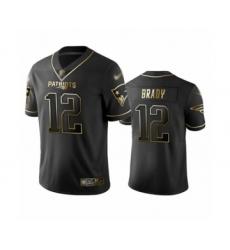 Men's New England Patriots #12 Tom Brady Limited Black Golden Edition Football Jersey