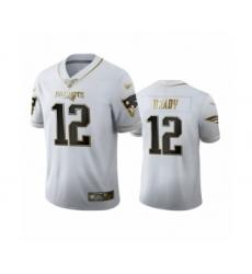 Men's New England Patriots #12 Tom Brady Limited White Golden Edition Football Jersey