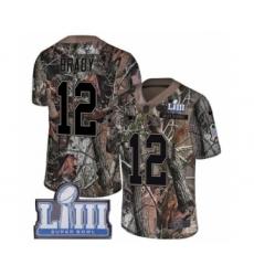 Men's Nike New England Patriots #12 Tom Brady Camo Rush Realtree Limited Super Bowl LIII Bound NFL Jersey
