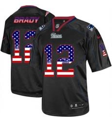 Men's Nike New England Patriots #12 Tom Brady Elite Black USA Flag Fashion NFL Jersey