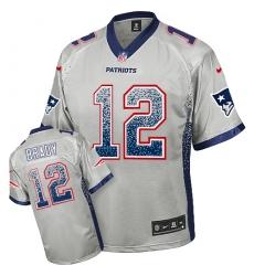 Men's Nike New England Patriots #12 Tom Brady Elite Grey Drift Fashion NFL Jersey