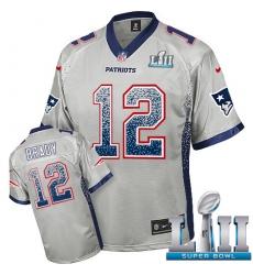 Men's Nike New England Patriots #12 Tom Brady Elite Grey Drift Fashion Super Bowl LII NFL Jersey