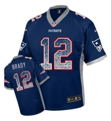 Men's Nike New England Patriots #12 Tom Brady Elite Navy Blue Drift Fashion NFL Jersey