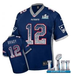 Men's Nike New England Patriots #12 Tom Brady Elite Navy Blue Drift Fashion Super Bowl LII NFL Jersey