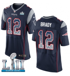 Men's Nike New England Patriots #12 Tom Brady Elite Navy Blue Home Drift Fashion Super Bowl LII NFL Jersey