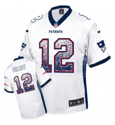 Men's Nike New England Patriots #12 Tom Brady Elite White Drift Fashion NFL Jersey