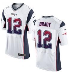 Men's Nike New England Patriots #12 Tom Brady Elite White Road Drift Fashion NFL Jersey
