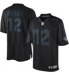 Men's Nike New England Patriots #12 Tom Brady Limited Black Impact NFL Jersey