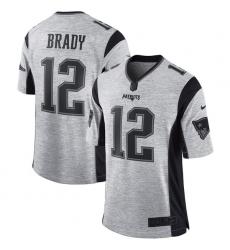 Men's Nike New England Patriots #12 Tom Brady Limited Gray Gridiron II NFL Jersey