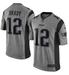 Men's Nike New England Patriots #12 Tom Brady Limited Gray Gridiron NFL Jersey