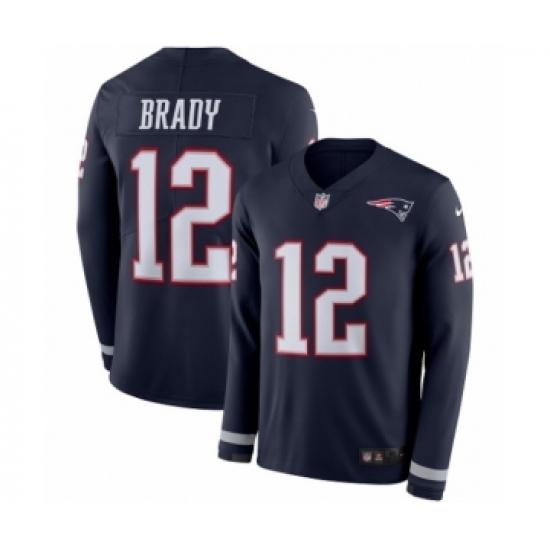 Men's Nike New England Patriots #12 Tom Brady Limited Navy Blue Therma Long Sleeve NFL Jersey