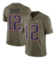Men's Nike New England Patriots #12 Tom Brady Limited Olive 2017 Salute to Service NFL Jersey