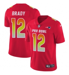 Men's Nike New England Patriots #12 Tom Brady Limited Red 2018 Pro Bowl NFL Jersey