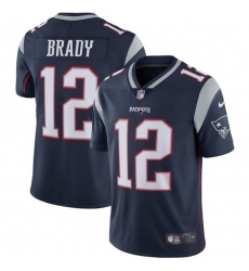 Men's Nike New England Patriots #12 Tom Brady Navy Blue Team Color Vapor Untouchable Limited Player NFL Jersey