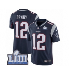 Men's Nike New England Patriots #12 Tom Brady Navy Blue Team Color Vapor Untouchable Limited Player Super Bowl LIII Bound NFL Jersey