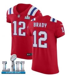 Men's Nike New England Patriots #12 Tom Brady Red Alternate Vapor Untouchable Elite Player Super Bowl LII NFL Jersey