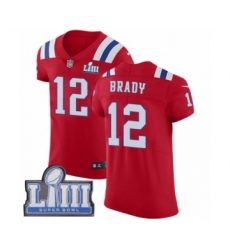 Men's Nike New England Patriots #12 Tom Brady Red Alternate Vapor Untouchable Elite Player Super Bowl LIII Bound NFL Jersey