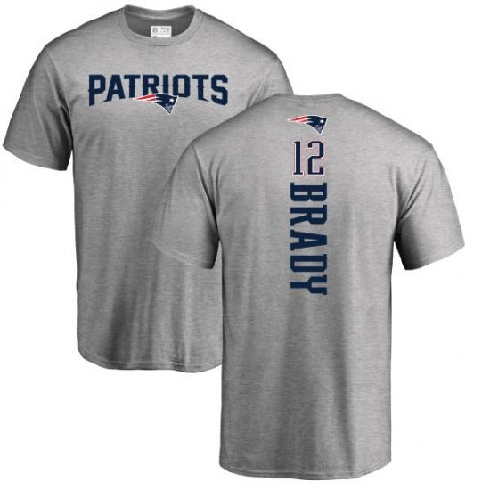 NFL Nike New England Patriots #12 Tom Brady Ash Backer T-Shirt