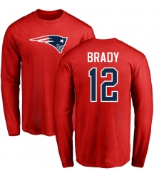 NFL Nike New England Patriots #12 Tom Brady Red Name & Number Logo Long Sleeve T-Shirt