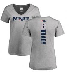 NFL Women's Nike New England Patriots #12 Tom Brady Ash Backer V-Neck T-Shirt