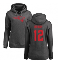 NFL Women's Nike New England Patriots #12 Tom Brady Ash One Color Pullover Hoodie