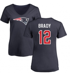 NFL Women's Nike New England Patriots #12 Tom Brady Navy Blue Name & Number Logo Slim Fit T-Shirt