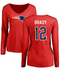 NFL Women's Nike New England Patriots #12 Tom Brady Red Name & Number Logo Slim Fit Long Sleeve T-Shirt