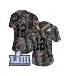 Women's Nike New England Patriots #12 Tom Brady Camo Rush Realtree Limited Super Bowl LIII Bound NFL Jersey