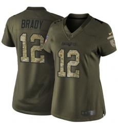 Women's Nike New England Patriots #12 Tom Brady Elite Green Salute to Service NFL Jersey