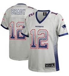 Women's Nike New England Patriots #12 Tom Brady Elite Grey Drift Fashion NFL Jersey