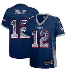 Women's Nike New England Patriots #12 Tom Brady Elite Navy Blue Drift Fashion NFL Jersey