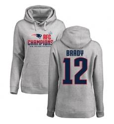 Women's Nike New England Patriots #12 Tom Brady Heather Gray 2017 AFC Champions Pullover Hoodie