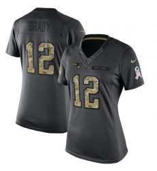 Women's Nike New England Patriots #12 Tom Brady Limited Black 2016 Salute to Service NFL Jersey