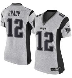 Women's Nike New England Patriots #12 Tom Brady Limited Gray Gridiron II NFL Jersey
