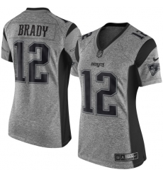 Women's Nike New England Patriots #12 Tom Brady Limited Gray Gridiron NFL Jersey