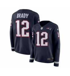 Women's Nike New England Patriots #12 Tom Brady Limited Navy Blue Therma Long Sleeve NFL Jersey