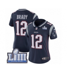 Women's Nike New England Patriots #12 Tom Brady Navy Blue Team Color Vapor Untouchable Limited Player Super Bowl LIII Bound NFL Jersey
