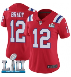 Women's Nike New England Patriots #12 Tom Brady Red Alternate Vapor Untouchable Limited Player Super Bowl LII NFL Jersey