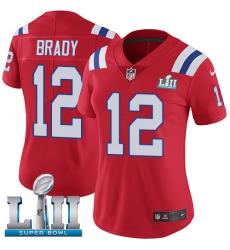 Women's Nike New England Patriots #12 Tom Brady Red Alternate Vapor Untouchable Limited Player Super Bowl LII NFL Jersey