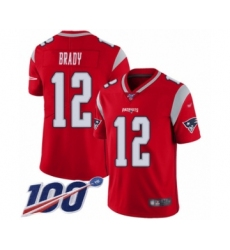Youth New England Patriots #12 Tom Brady Limited Red Inverted Legend 100th Season Football Jersey