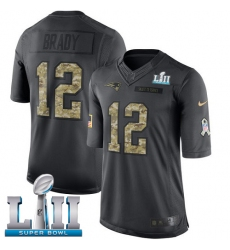 Youth Nike New England Patriots #12 Tom Brady Limited Black 2016 Salute to Service Super Bowl LII NFL Jersey